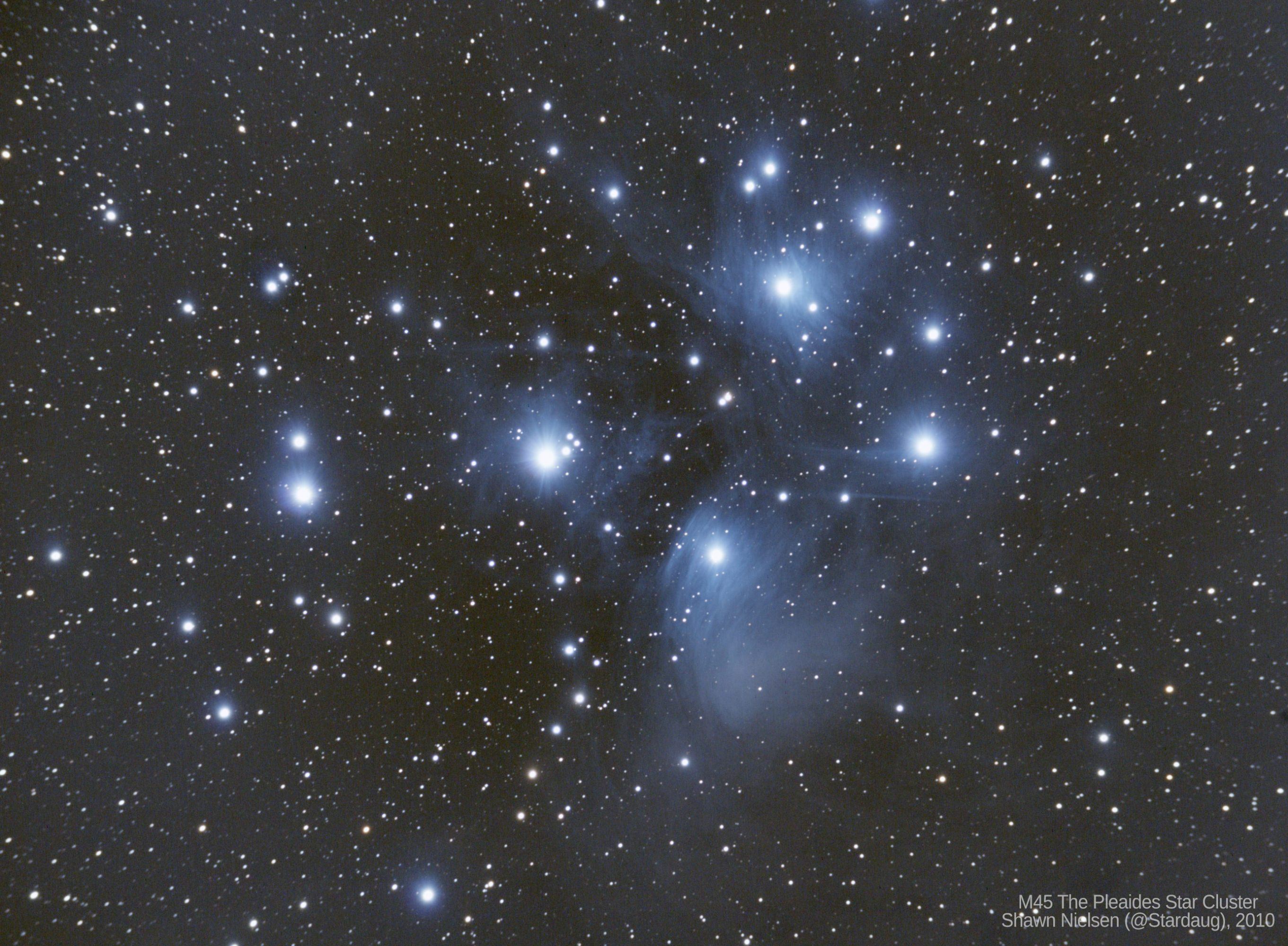 M45 the Pleiades star cluster. Shawn Nielsen, 2010