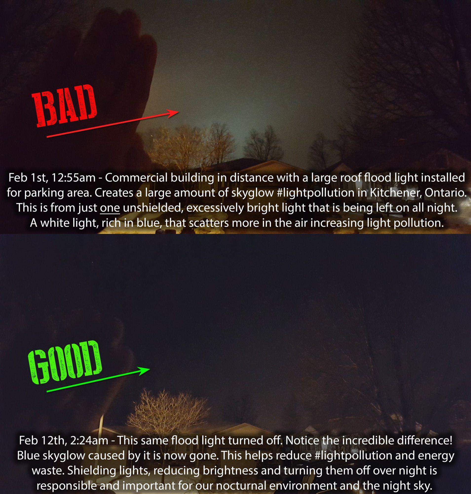 Large flood light illuminates the night sky. Turned on and off photos.
