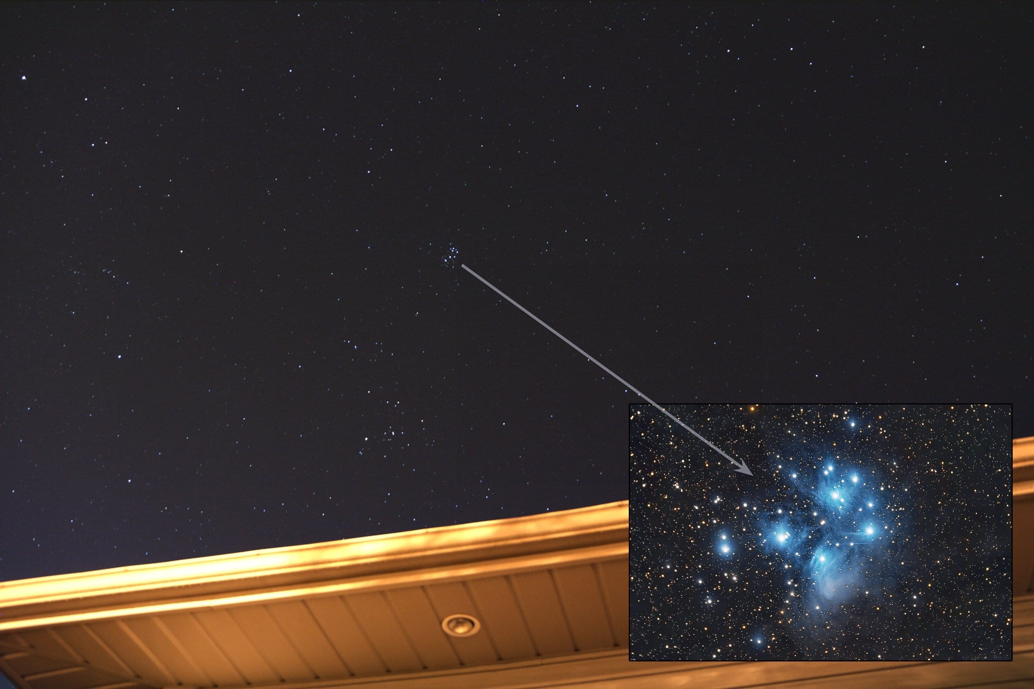 Pleiades star cluster rising high overhead in the early Fall pre-dawn sky of September