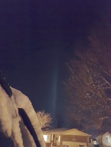 A light pillar is caused by bad unshielded lighting.