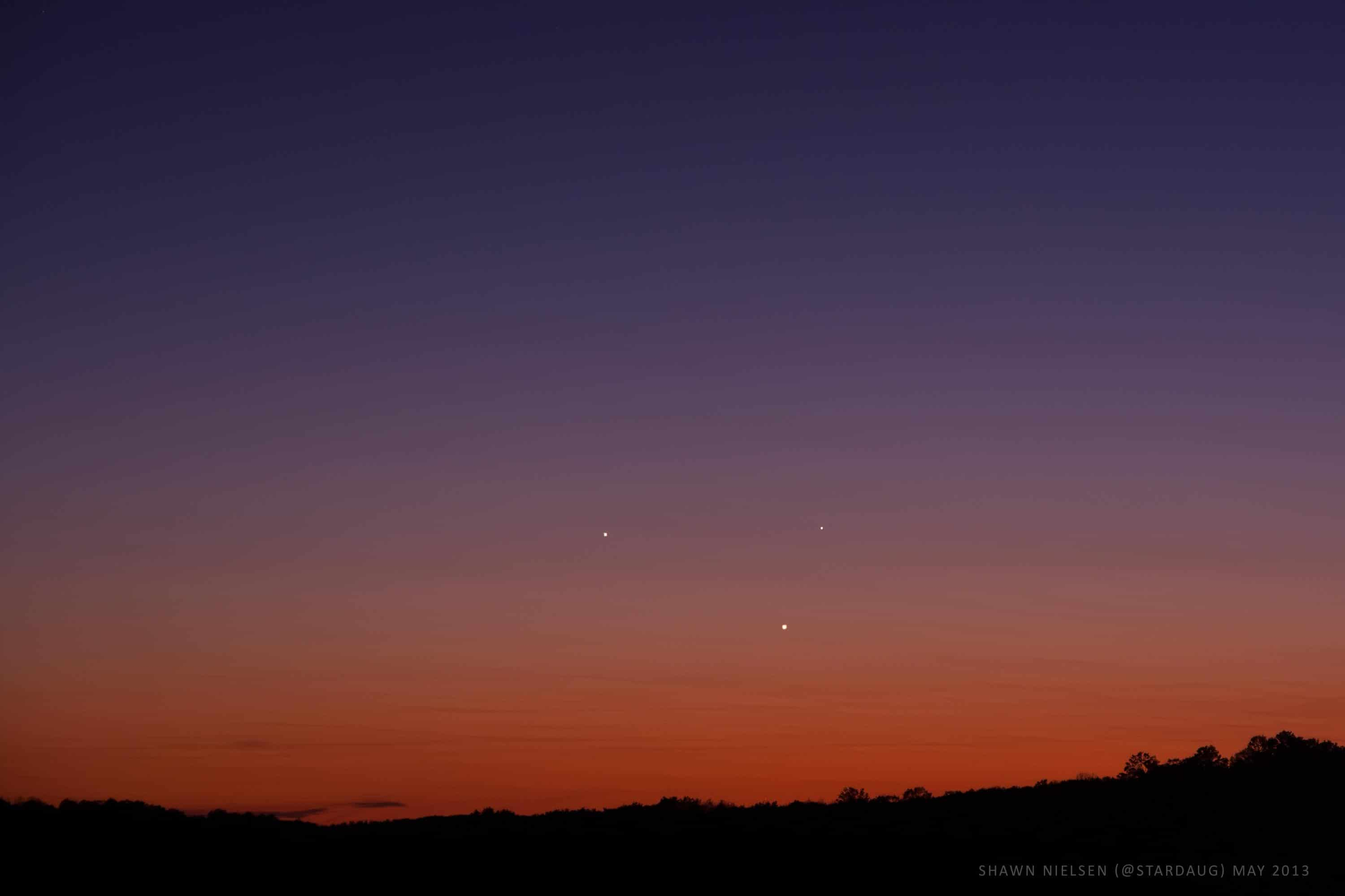 Jupiter, Venus and Mercury come together in the evening sky on May 25th, 2013. Shawn Nielsen