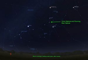 Looking at night sky Orion constellation