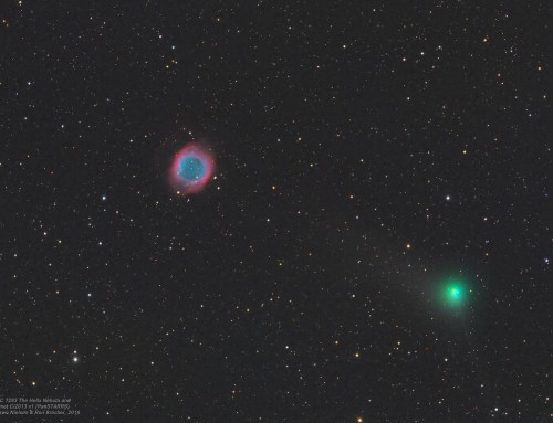 Comet sails past the Helix Nebula