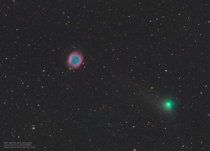 Comet C/2013 X1 (PanSTARRS) passing near the Helix Nebula (NGC 7293)