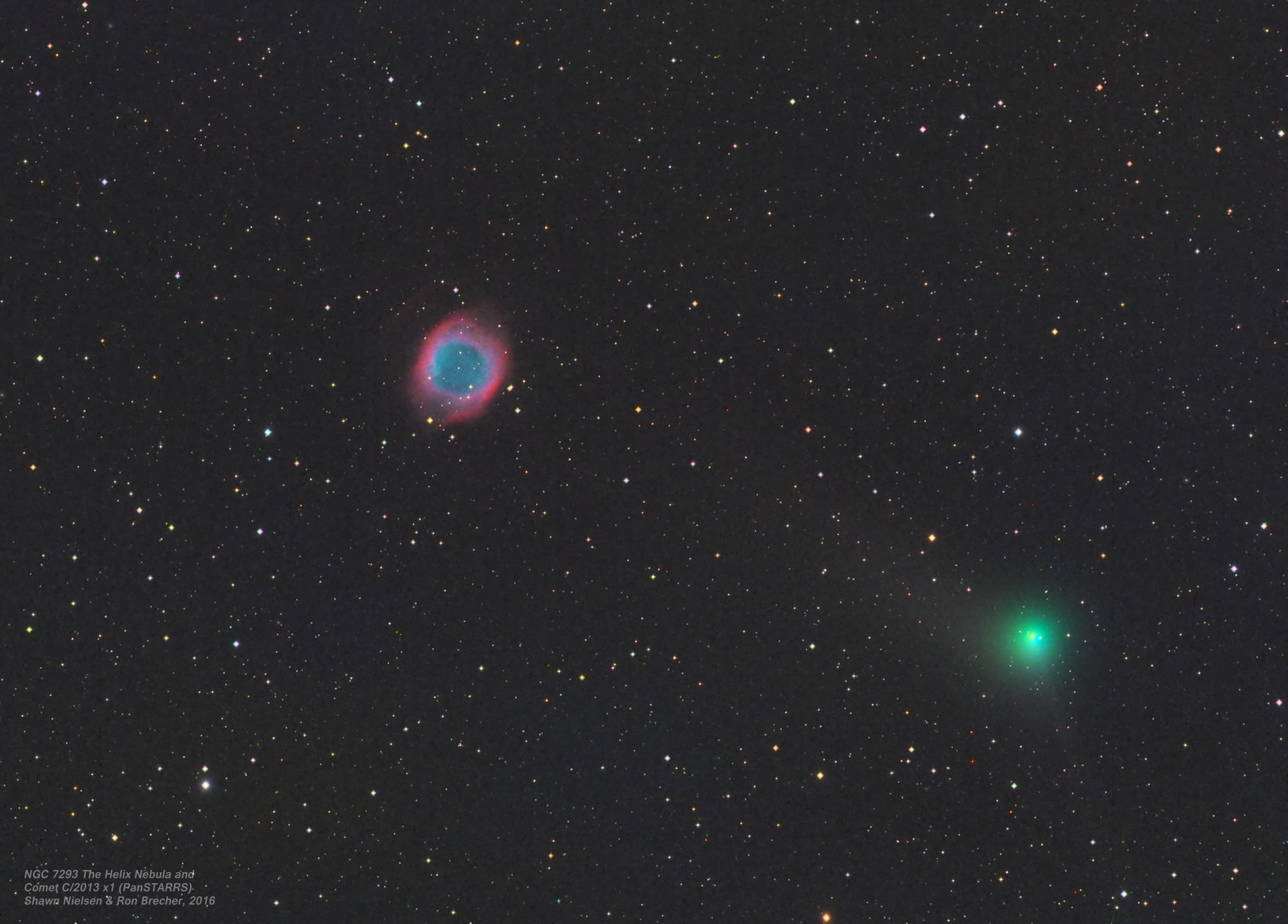 Comet C/2013 X1 and Helix Nebula close pairing in the night sky