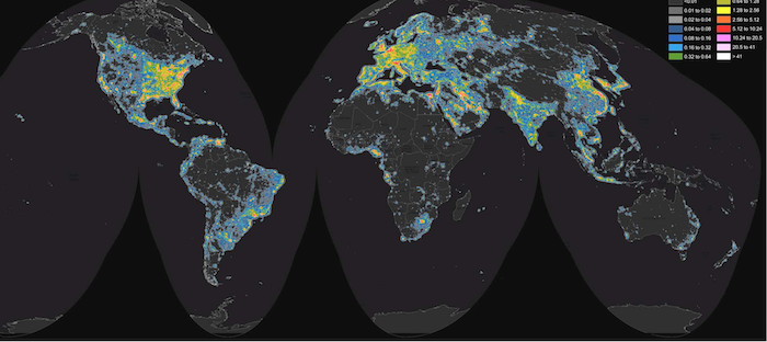 "World map of artificial sky brightness. Image from the new ""World Atlas of Artificial Night Sky Brightness."