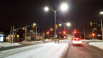 4000K LED street lights along King St in Waterloo Ontario Canada