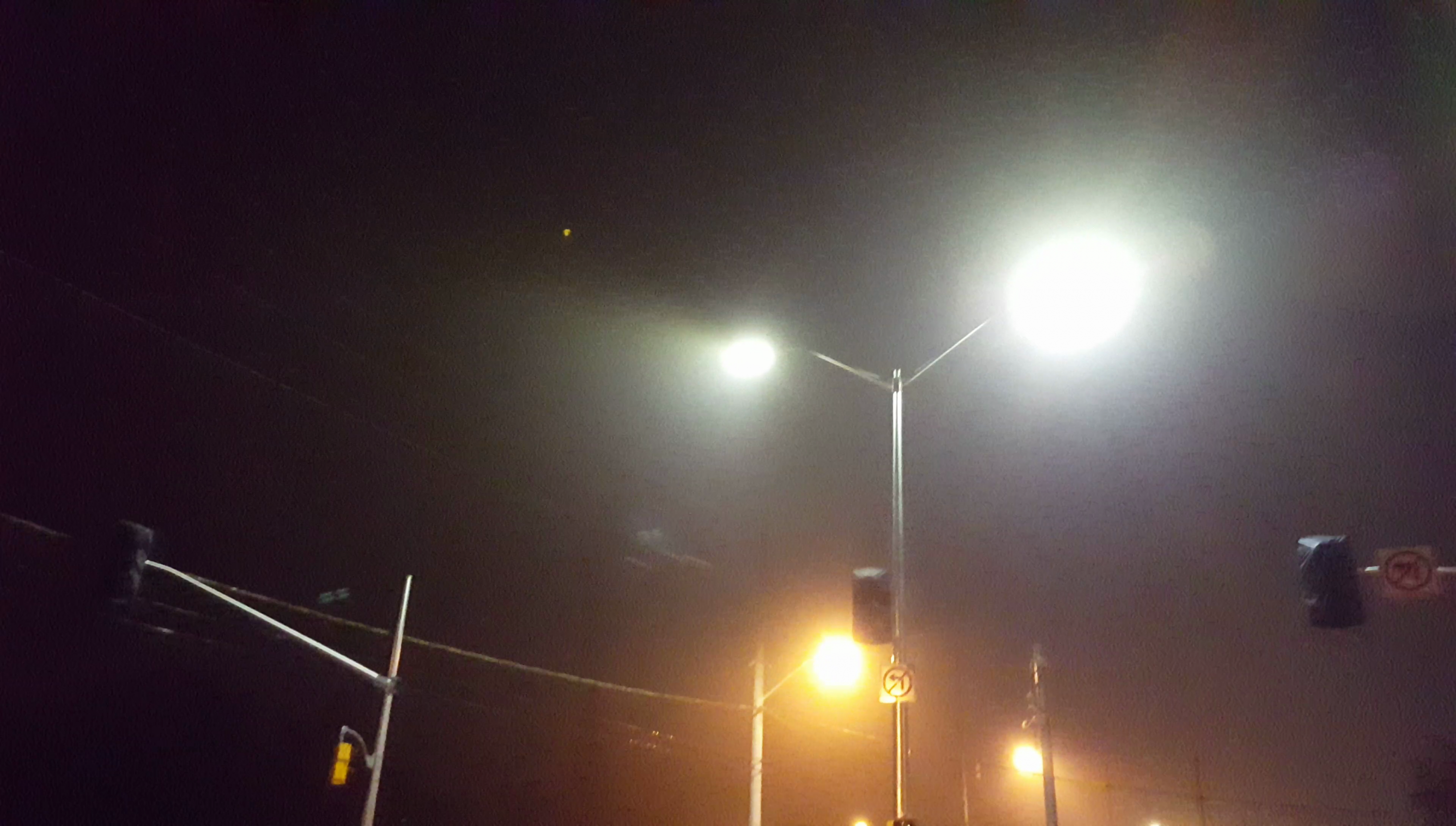 LED street lights in Kitchener, Ontario are more white in colour which has a higher blue content. This leads to increases in light pollution, skyglow and scatters more easily in the human eye disrupting night vision.