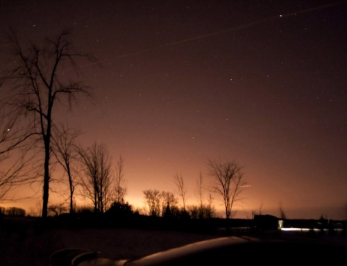 Light pollution dome from Kitchener and Waterloo