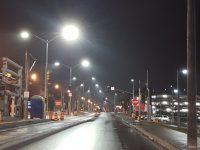blue rich 4000K LED street lights going up along King Street in Kitchener, Ontario.
