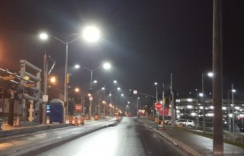 blue rich 4000K LED street lights going up along King Street in Kitchener, Ontario.