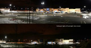 Walmart in Kitchener at The Boardwalk turns off parking lot lights over night to save energy and reduce light pollution