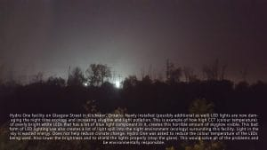 hydro one transformer station in Kitchener that converted to white LED and was creating light pollution and skyglow