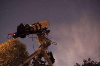 A Sky-Watcher Esprit 100 triplet refractor and ASI1600mm-cooled camera mounted on a Sky-Watcher EQ6 mount