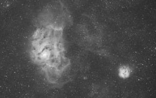 H-alpha image of M8 and M20 taken summer of 2011 with an Equinox 80mm APO refractor and modified Canon 350XT.