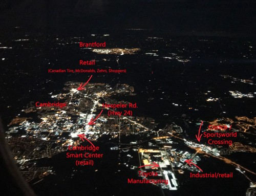 Cambridge Ontario environmental light pollution from 7000 meters up