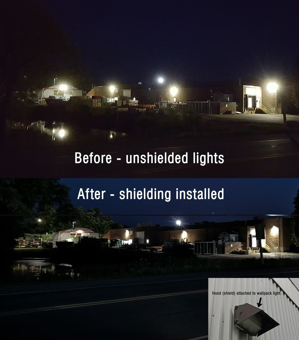 Before and after LED lights
