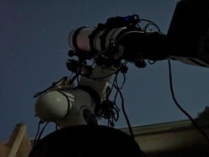 The Esprit 100 triplet refractor and Moravian G3-16200EC CCD camera riding on the EQ6 mount and Skyshed Pier.