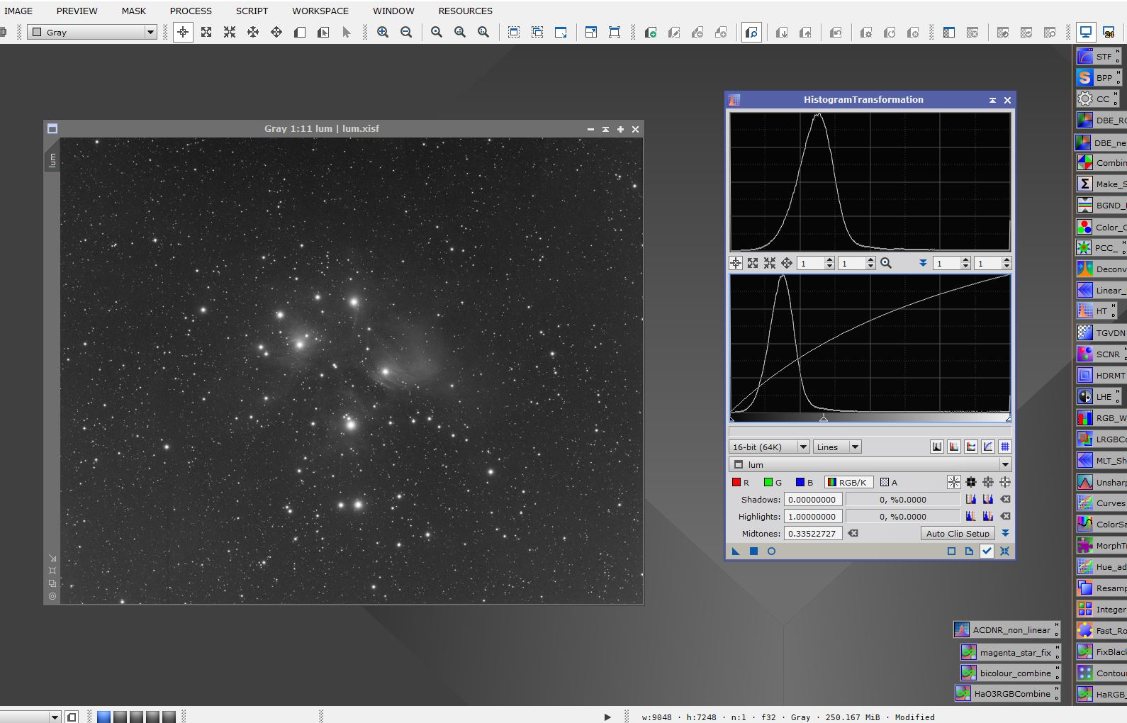 stretching an image using histrogram transformation in Pixinsight