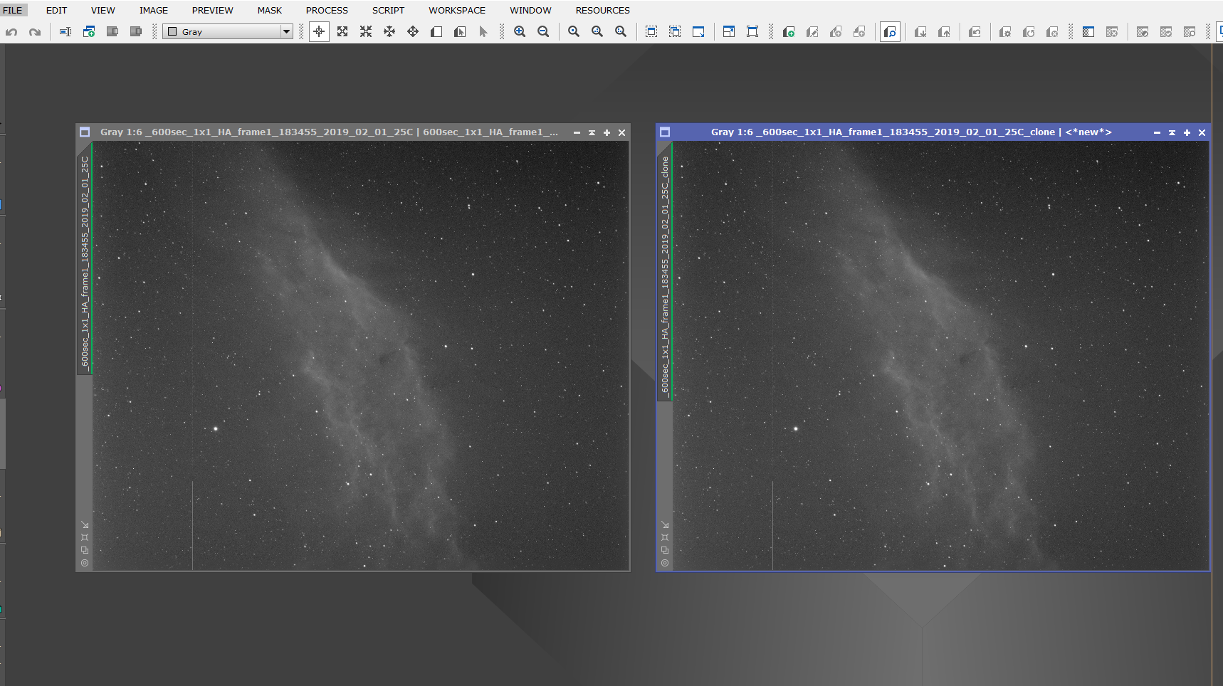 In this short tutorial I'll show you how to easily duplicate a window and match zoom both windows in Pixinsight.