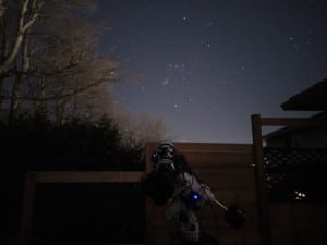 Esprit 100 triplet refractor used to take this image is pointed at the constellation of Orion