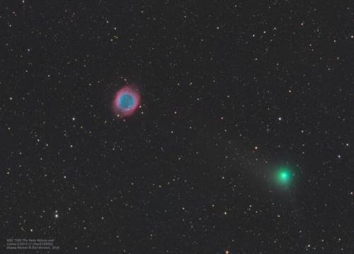 Comet C/2013 X1 (PanSTARRS) passing near the Helix Nebula (NGC 7293)